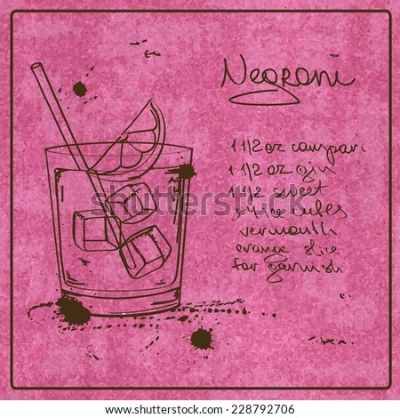Illustration with hand drawn sketch Negroni cocktail. Including recipe and ingredients on the grunge vintage background - stock vector