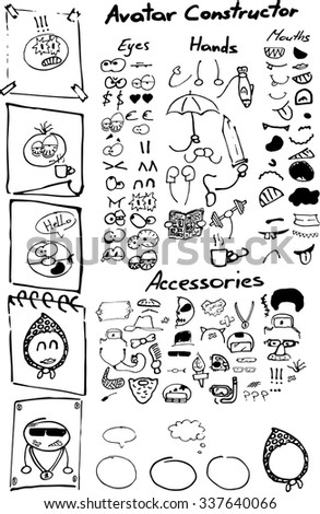 Illustration with hand drawn smiles parts for unique avatar constructor