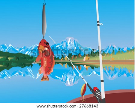 illustration with hooked fish and mountain landscape - stock vector