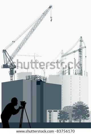 illustration with house building - stock vector