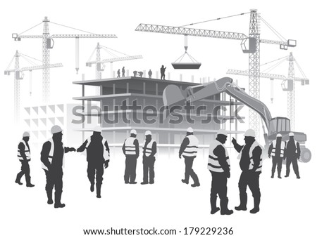 Illustration with house building and cranes. Construction workers - stock vector