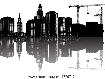 illustration with house building, cranes and reflection - stock vector