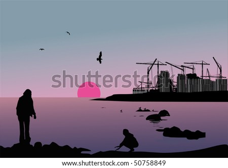 illustration with house building near sea - stock vector