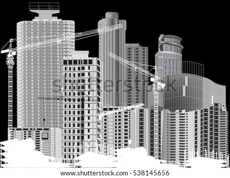 illustration with house buildings and cranes isolated on black background
