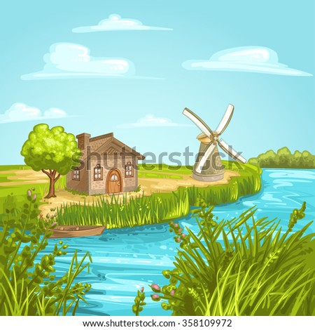 Illustration with house near river  - stock vector