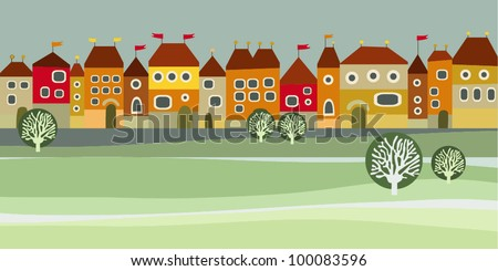 Illustration with houses in the spring - stock vector
