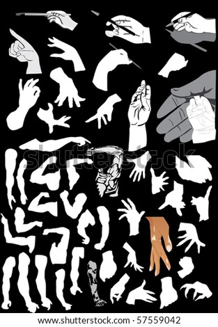 illustration with human hand silhouettes isolated on black background - stock vector