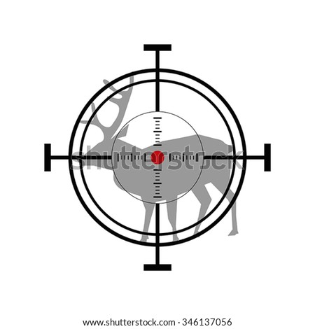 Illustration with hunting icon. Deer target. - stock vector