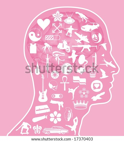 Illustration with icons overlaid on a cross section of the human brain. - stock vector