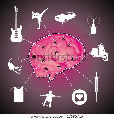 Illustration with icons overlaid on a cross section of the human brain.