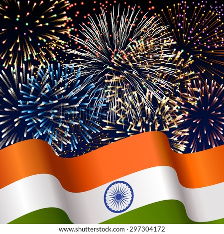 Illustration with indian flag and fireworks, background for Indian independence day, EPS 10 contains transparency. - stock vector