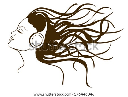 Illustration with isolated portrait of girl listening to music in headphones - stock vector