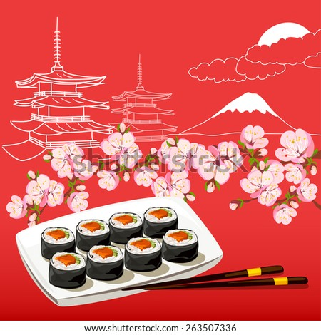 illustration with Japanese motifs. vector illustration - stock vector