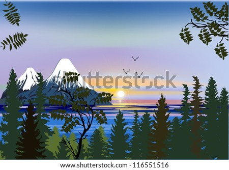 illustration with lake in forest near mountains - stock vector