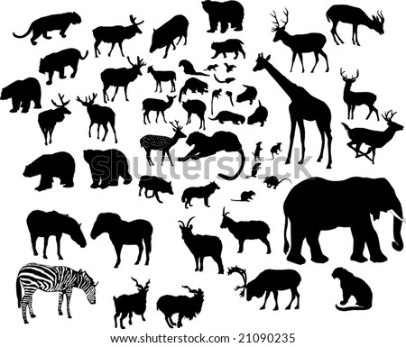 illustration with large animal silhouettes collection isolated on white background