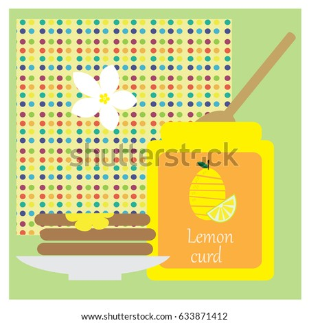 Illustration with lemon curd and toast