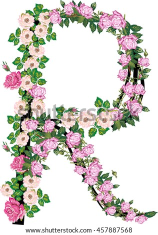 Illustration letter r rose brier flowers stock vector royalty free illustration with letter r from rose and brier flowers isolated on white background altavistaventures Choice Image