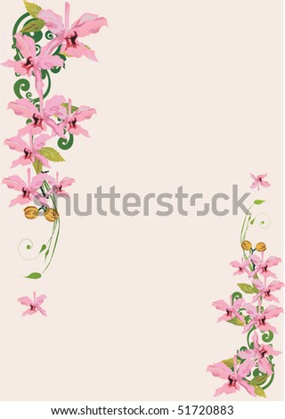 illustration with light pink orchid decoration