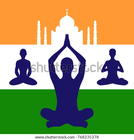 Illustration With Lotus Yoga Pose Icon Silhouette On India Flag Background