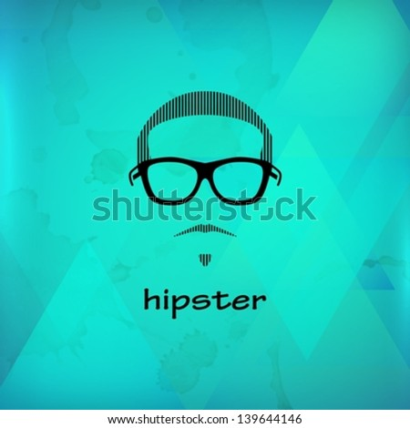 illustration with male face - stock vector