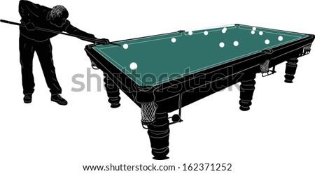 illustration with man play billiards - stock vector