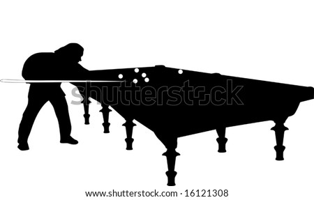 illustration with man playing billiards - stock vector