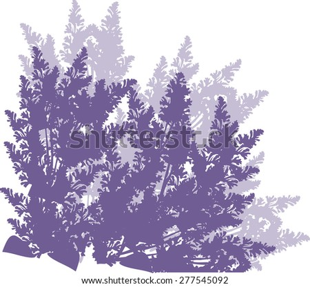 illustration with many lilac flowers silhouette
