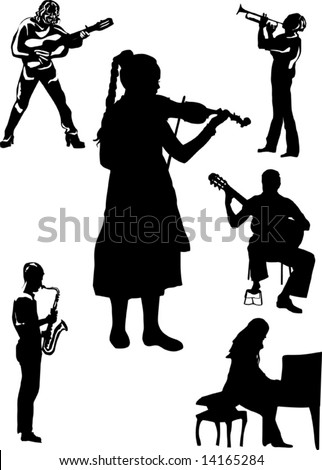 illustration with musicians isolated on white background