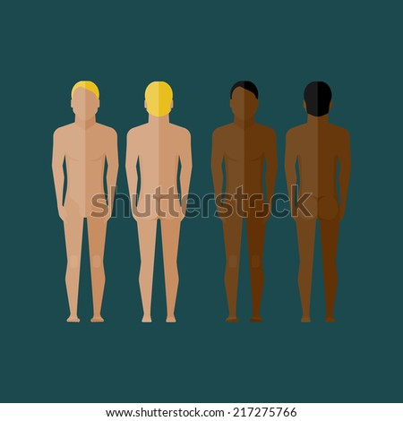 illustration with naked men body (front and back view) in flat style - stock vector