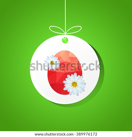 Illustration with origami easter egg card on green background - stock vector