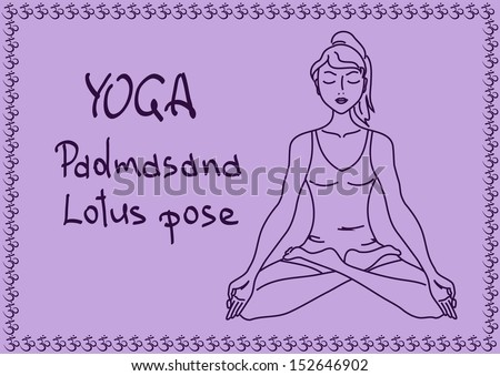 Illustration with outline slim girl in Lotus yoga pose - stock vector