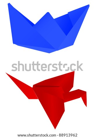 illustration with paper ship and crane isolated on white background