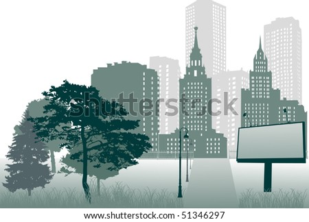 illustration with path, trees and city - stock vector