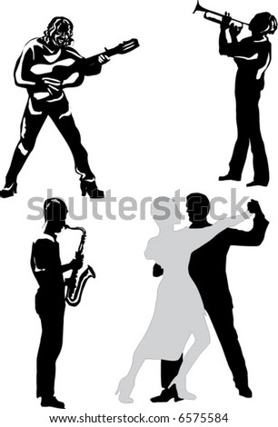 illustration with people playing music and dancing - stock vector