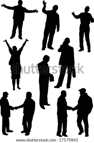 illustration with people silhouettes isolated on white background