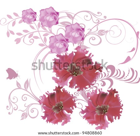 illustration with pink flowers on white background