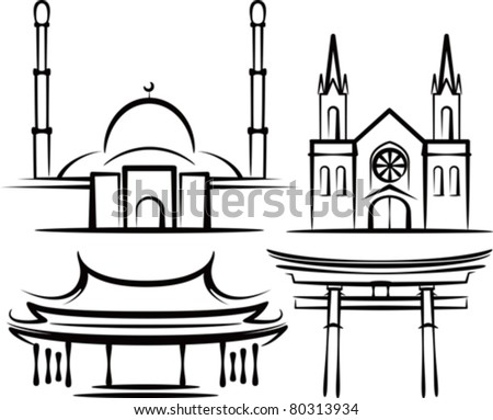 illustration with places of worship - stock vector