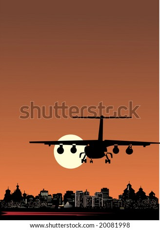 illustration with plane flying near city