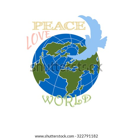 Illustration with planet earth and peace dove.