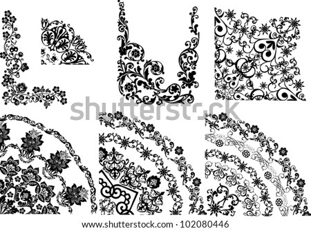 illustration with quadrant decorations on white background - stock vector