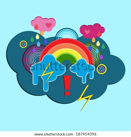 Illustration with rainbow and clouds - stock vector