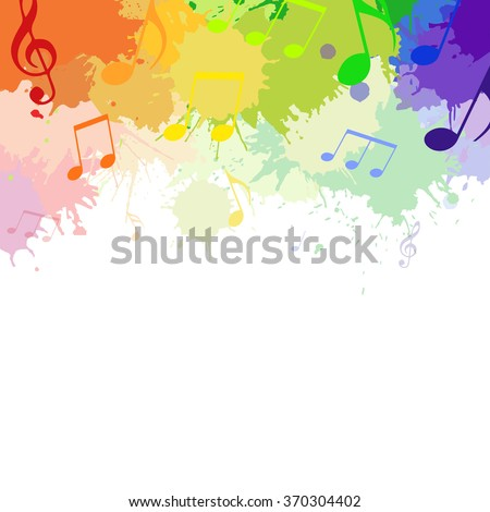 Illustration with rainbow musical notes and watercolor splashes for your design - stock vector