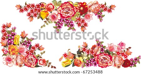 illustration with red rose decoration on white background - stock vector
