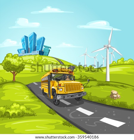 Illustration with school bus on asphalt road and modern city - stock vector