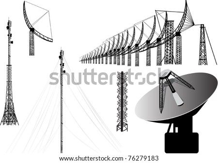illustration with set of antenna silhouettes isolated on white background - stock vector