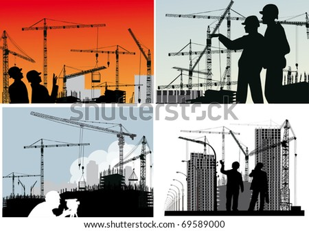 illustration with set of builder and crane silhouettes - stock vector