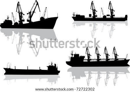 illustration with set of commercial ships isolated on white - stock vector
