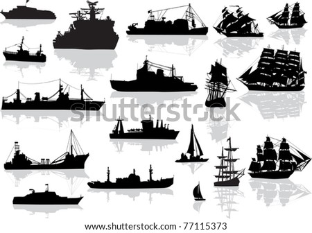 illustration with set of different ships isolated on white - stock vector