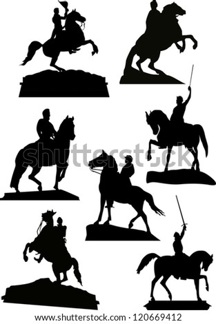 illustration with set of horsemen monuments isolated on white background