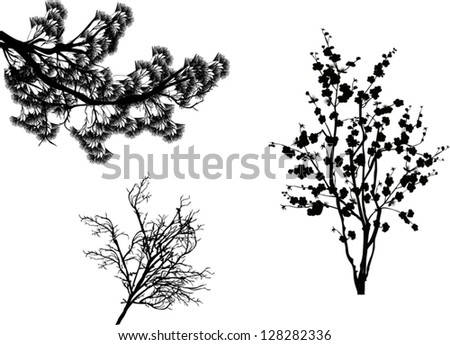 illustration with set of trees branches isolated on white background